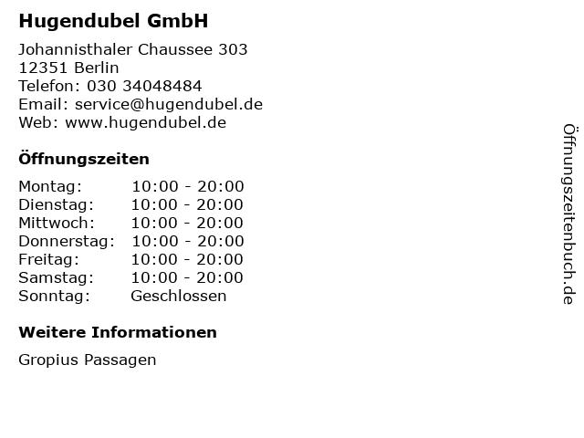 Hugendubel GmbH in Berlin: Adresse und Öffnungszeiten