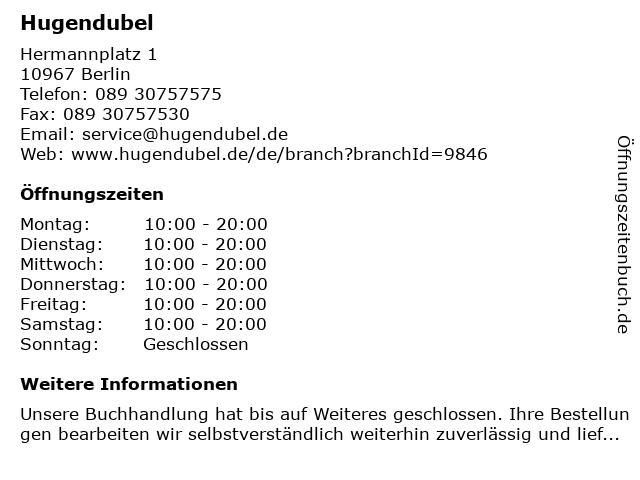 Hugendubel in Berlin: Adresse und Öffnungszeiten