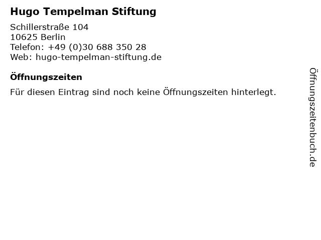 Hugo Tempelman Stiftung in Berlin: Adresse und Öffnungszeiten