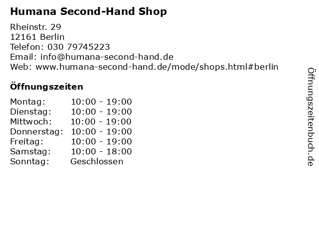 Humana Second-Hand Shop in Berlin: Adresse und Öffnungszeiten