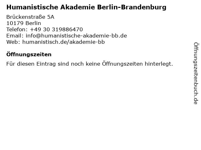 Humanistische Akademie Berlin-Brandenburg in Berlin: Adresse und Öffnungszeiten