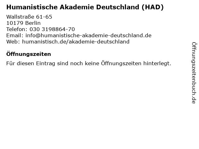 Humanistische Akademie Deutschland (HAD) in Berlin: Adresse und Öffnungszeiten