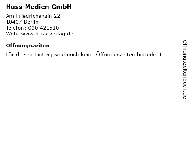 Huss-Medien GmbH in Berlin: Adresse und Öffnungszeiten