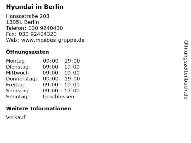 Hyundai in Berlin in Berlin: Adresse und Öffnungszeiten