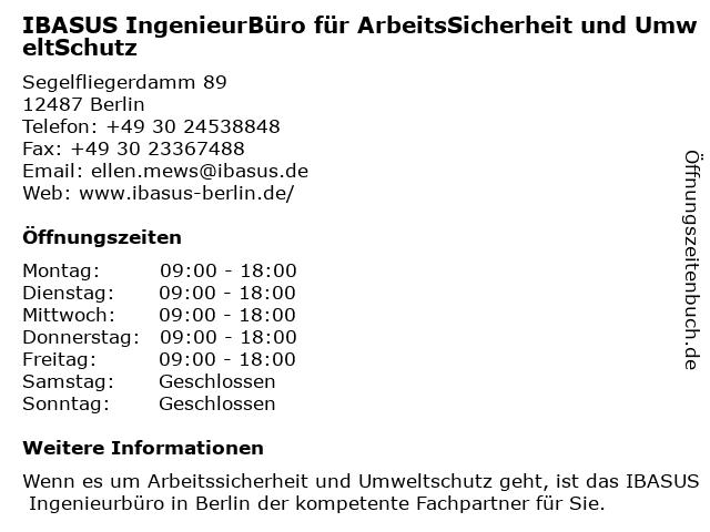 IBASUS IngenieurBüro für ArbeitsSicherheit und UmweltSchutz in Berlin: Adresse und Öffnungszeiten