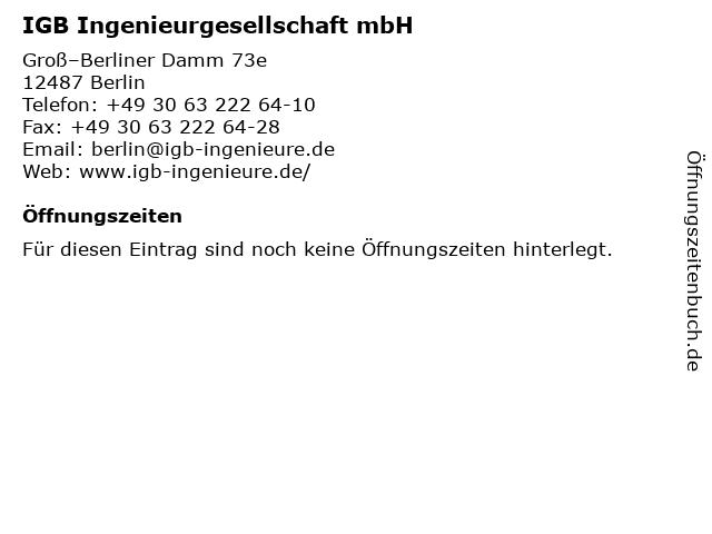 IGB Ingenieurgesellschaft mbH in Berlin: Adresse und Öffnungszeiten
