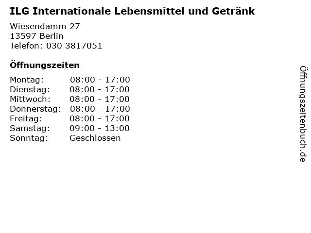 ILG Internationale Lebensmittel und Getränk in Berlin: Adresse und Öffnungszeiten