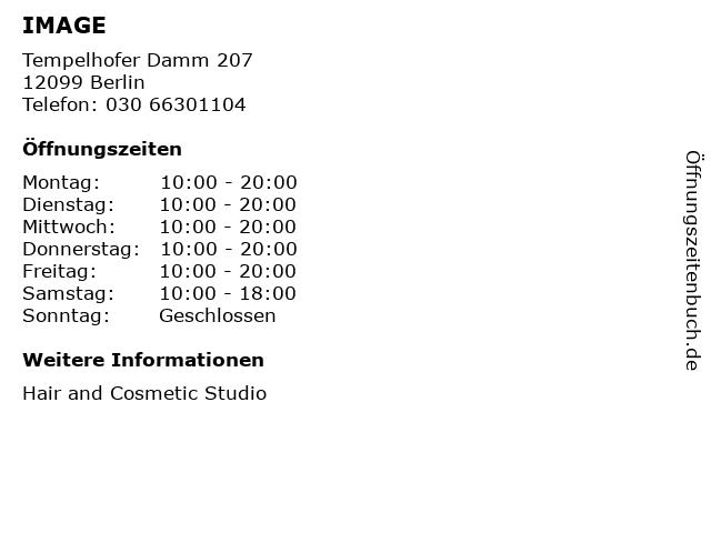 IMAGE in Berlin: Adresse und Öffnungszeiten