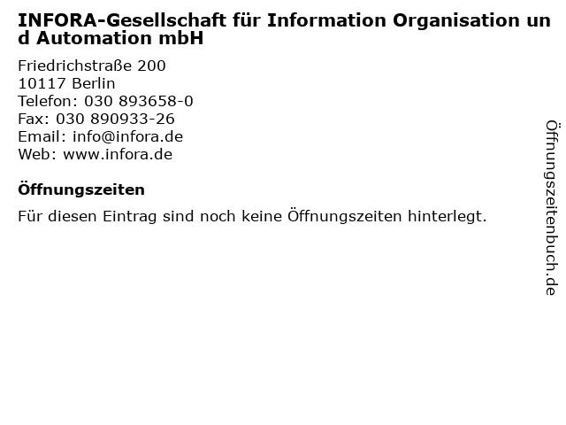INFORA-Gesellschaft für Information Organisation und Automation mbH in Berlin: Adresse und Öffnungszeiten