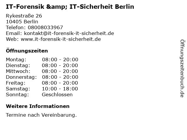 IT-Forensik & IT-Sicherheit Berlin in Berlin: Adresse und Öffnungszeiten
