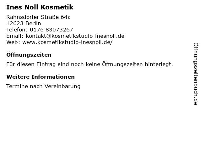 Ines Noll Kosmetik in Berlin: Adresse und Öffnungszeiten