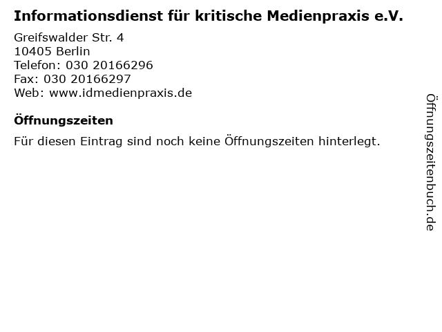 Informationsdienst für kritische Medienpraxis e.V. in Berlin: Adresse und Öffnungszeiten