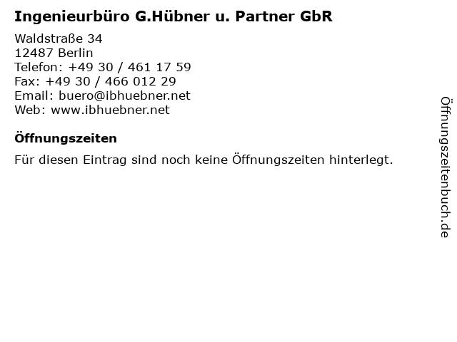 Ingenieurbüro G.Hübner u. Partner GbR in Berlin: Adresse und Öffnungszeiten