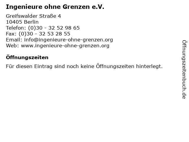 Ingenieure ohne Grenzen e.V. in Berlin: Adresse und Öffnungszeiten