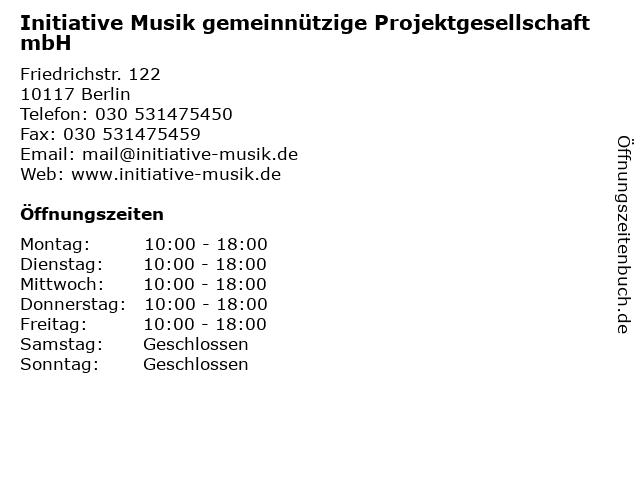 Initiative Musik gemeinnützige Projektgesellschaft mbH in Berlin: Adresse und Öffnungszeiten