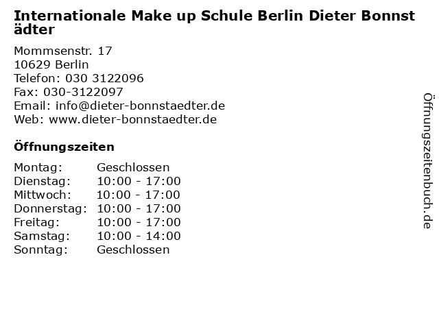 Internationale Make up Schule Berlin Dieter Bonnstädter in Berlin: Adresse und Öffnungszeiten