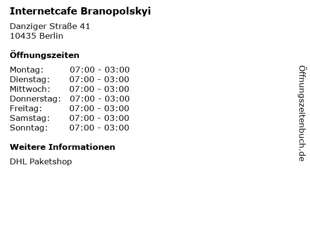 Internetcafe Branopolskyi in Berlin: Adresse und Öffnungszeiten