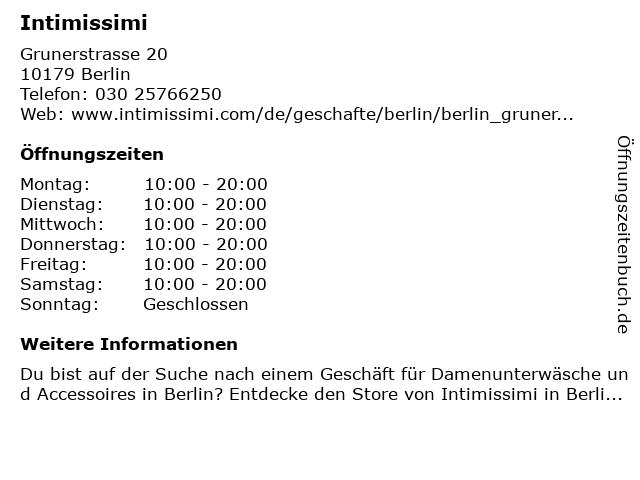 intimissimi in Berlin: Adresse und Öffnungszeiten