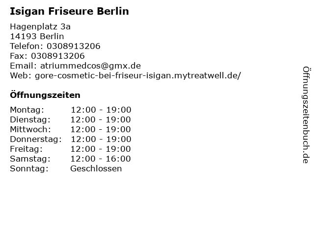Isigan Friseure Berlin in Berlin: Adresse und Öffnungszeiten
