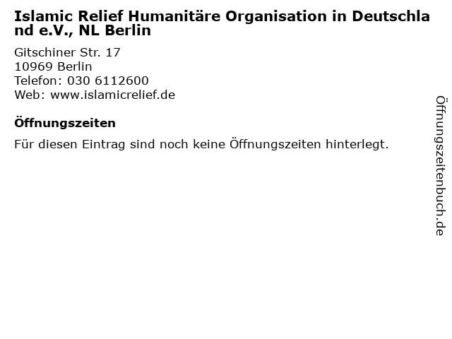 Islamic Relief Humanitäre Organisation in Deutschland e.V., NL Berlin in Berlin: Adresse und Öffnungszeiten