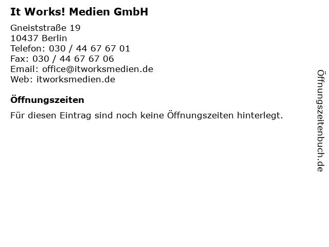 It Works! Medien GmbH in Berlin: Adresse und Öffnungszeiten