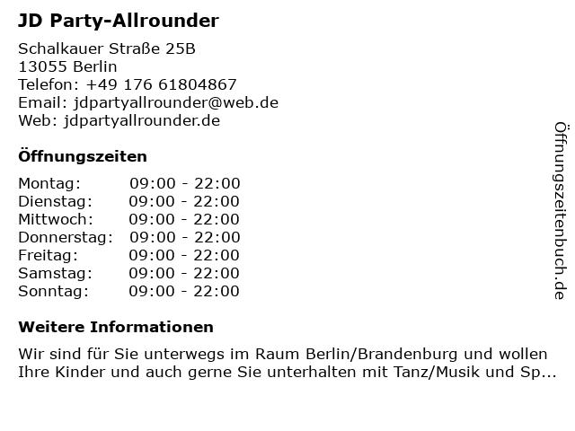JD Party-Allrounder in Berlin: Adresse und Öffnungszeiten