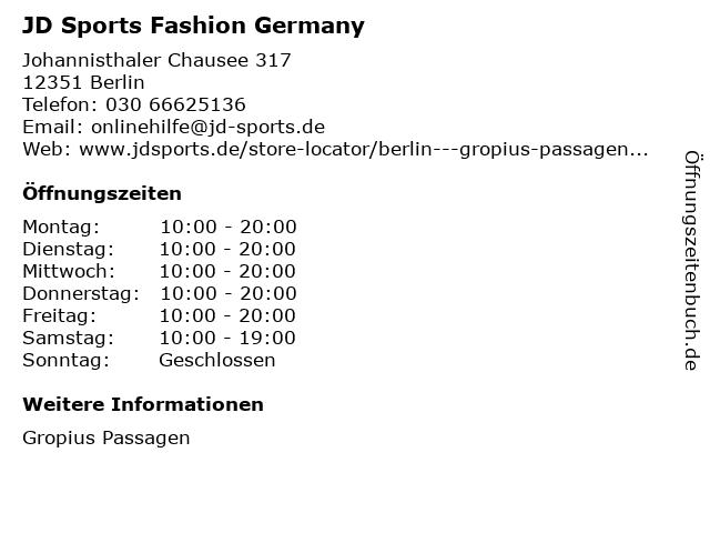 JD Sports Fashion Germany in Berlin: Adresse und Öffnungszeiten