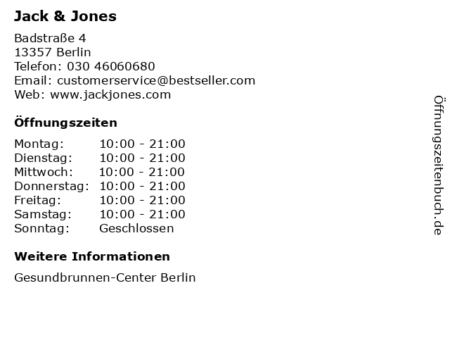 Jack & Jones in Berlin: Adresse und Öffnungszeiten