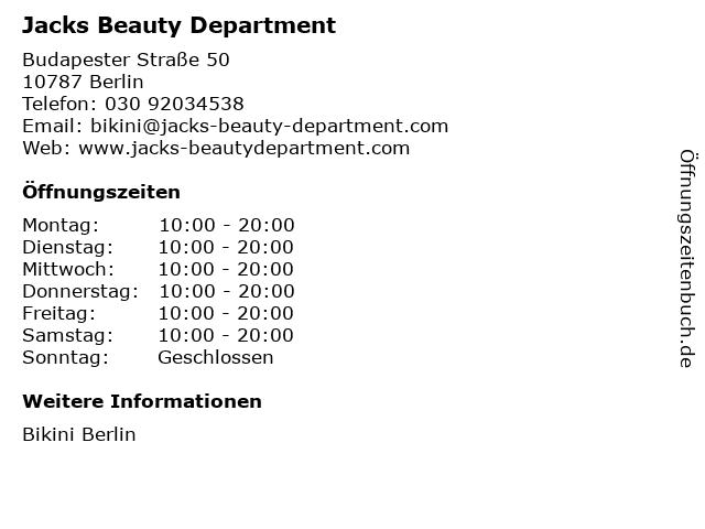 Jacks Beauty Department in Berlin: Adresse und Öffnungszeiten