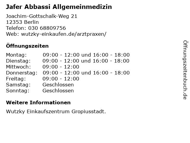 Jafer Abbassi Allgemeinmedizin in Berlin: Adresse und Öffnungszeiten