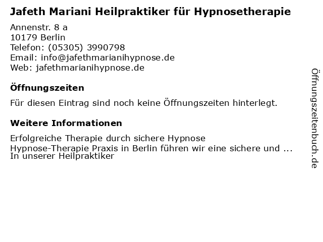 Jafeth Mariani Heilpraktiker für Hypnosetherapie in Berlin: Adresse und Öffnungszeiten