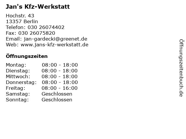 Jan's Kfz-Werkstatt in Berlin: Adresse und Öffnungszeiten
