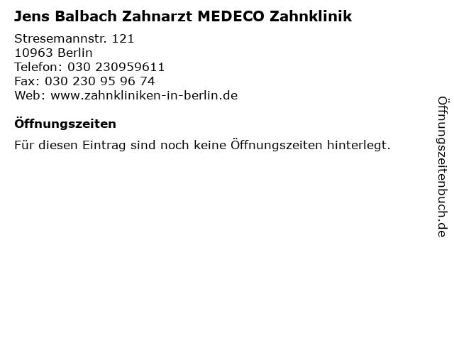 Jens Balbach Zahnarzt MEDECO Zahnklinik in Berlin: Adresse und Öffnungszeiten