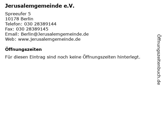 Jerusalemgemeinde e.V. in Berlin: Adresse und Öffnungszeiten