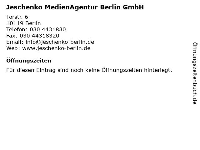 Jeschenko MedienAgentur Berlin GmbH in Berlin: Adresse und Öffnungszeiten