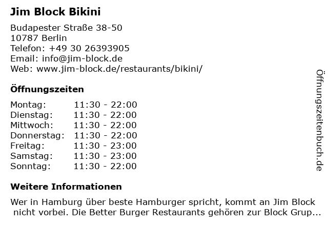Jim Block Bikini in Berlin: Adresse und Öffnungszeiten