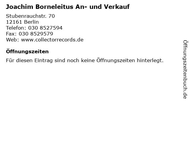 Joachim Borneleitus An- und Verkauf in Berlin: Adresse und Öffnungszeiten