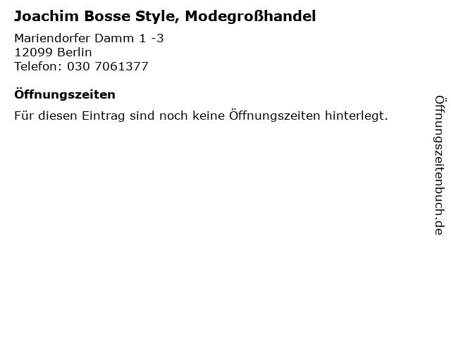 Joachim Bosse Style, Modegroßhandel in Berlin: Adresse und Öffnungszeiten