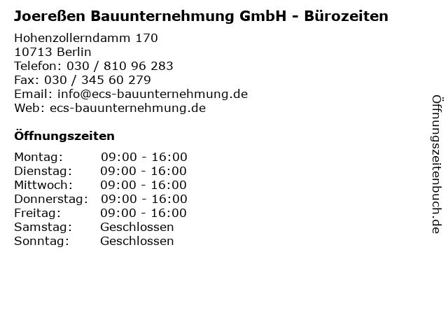 Joereßen Bauunternehmung GmbH - Bürozeiten in Berlin: Adresse und Öffnungszeiten