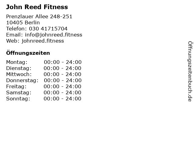 John Reed Fitness in Berlin: Adresse und Öffnungszeiten