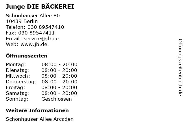 Junge DIE BÄCKEREI in Berlin: Adresse und Öffnungszeiten