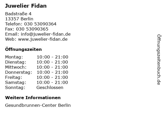 Juwelier Fidan in Berlin: Adresse und Öffnungszeiten