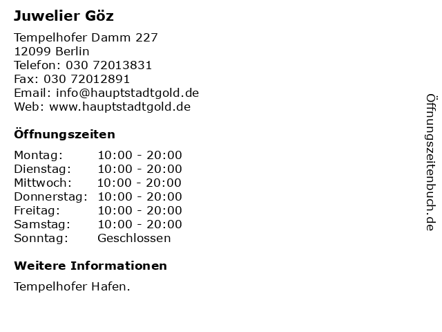Juwelier Göz in Berlin: Adresse und Öffnungszeiten