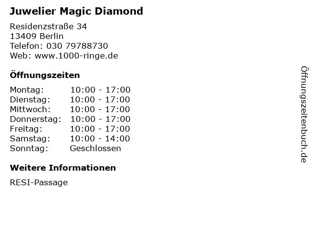 Juwelier Magic Diamond in Berlin: Adresse und Öffnungszeiten