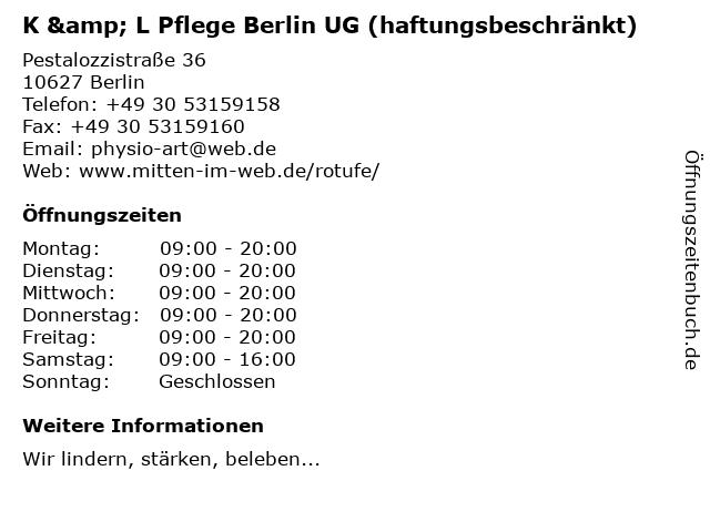 K & L Pflege Berlin UG (haftungsbeschränkt) in Berlin: Adresse und Öffnungszeiten