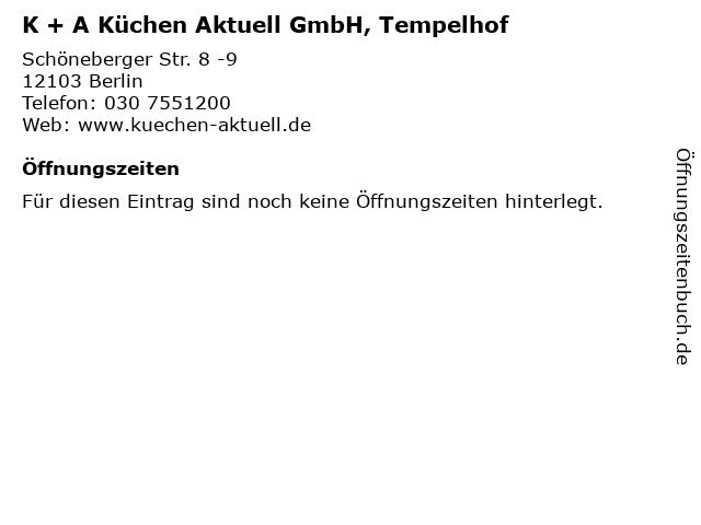 ᐅ Offnungszeiten K A Kuchen Aktuell Gmbh Tempelhof