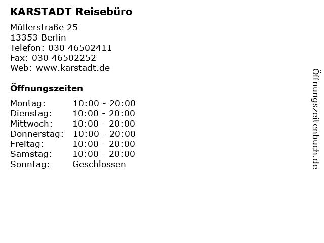 KARSTADT Reisebüro in Berlin: Adresse und Öffnungszeiten