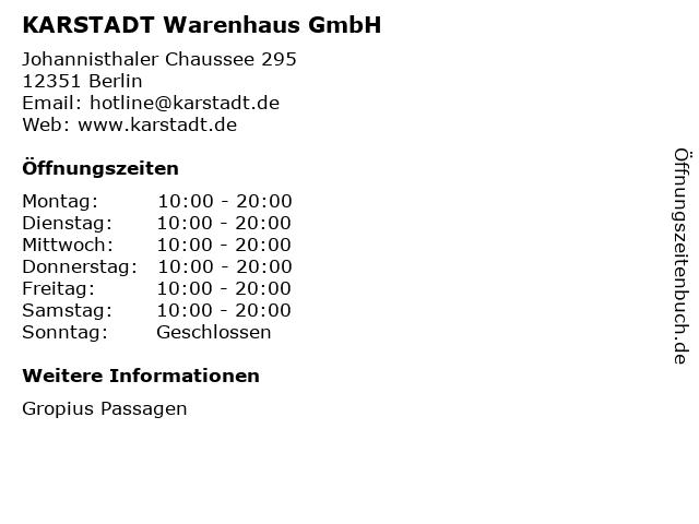 KARSTADT Warenhaus GmbH in Berlin: Adresse und Öffnungszeiten