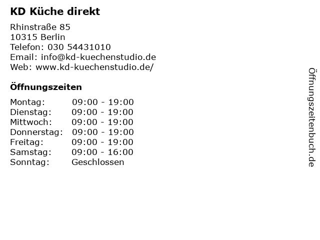 ᐅ Offnungszeiten Kd Kuchenstudio Dittrich Gmbh Rhinstrasse 85 In