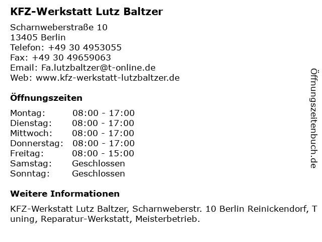 Kfz Werkstatt Lutz Baltzer in Berlin: Adresse und Öffnungszeiten